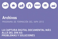 Detalle. Portada del folleto del curso La captura digital documental más allá del DIN-A3